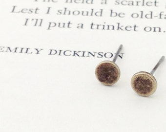 Tiny Antique Brass Post Earrings.  Simple & Sweet.