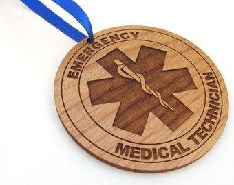 EMT Wooden Christmas Ornament - Paramedic Christmas Gift - Personalized Wood Ornament