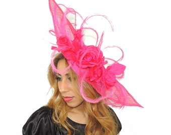 Mini Elisaveta Hot Pink Fascinator Hat for Weddings, Kentucky Derby With Headband (40 colours)