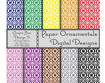 Digital Paper Pack, Commercial Use Digital Scrapbook Paper, Printable Paper Instant Download, Geometric Pattern Paper, Primary Colors