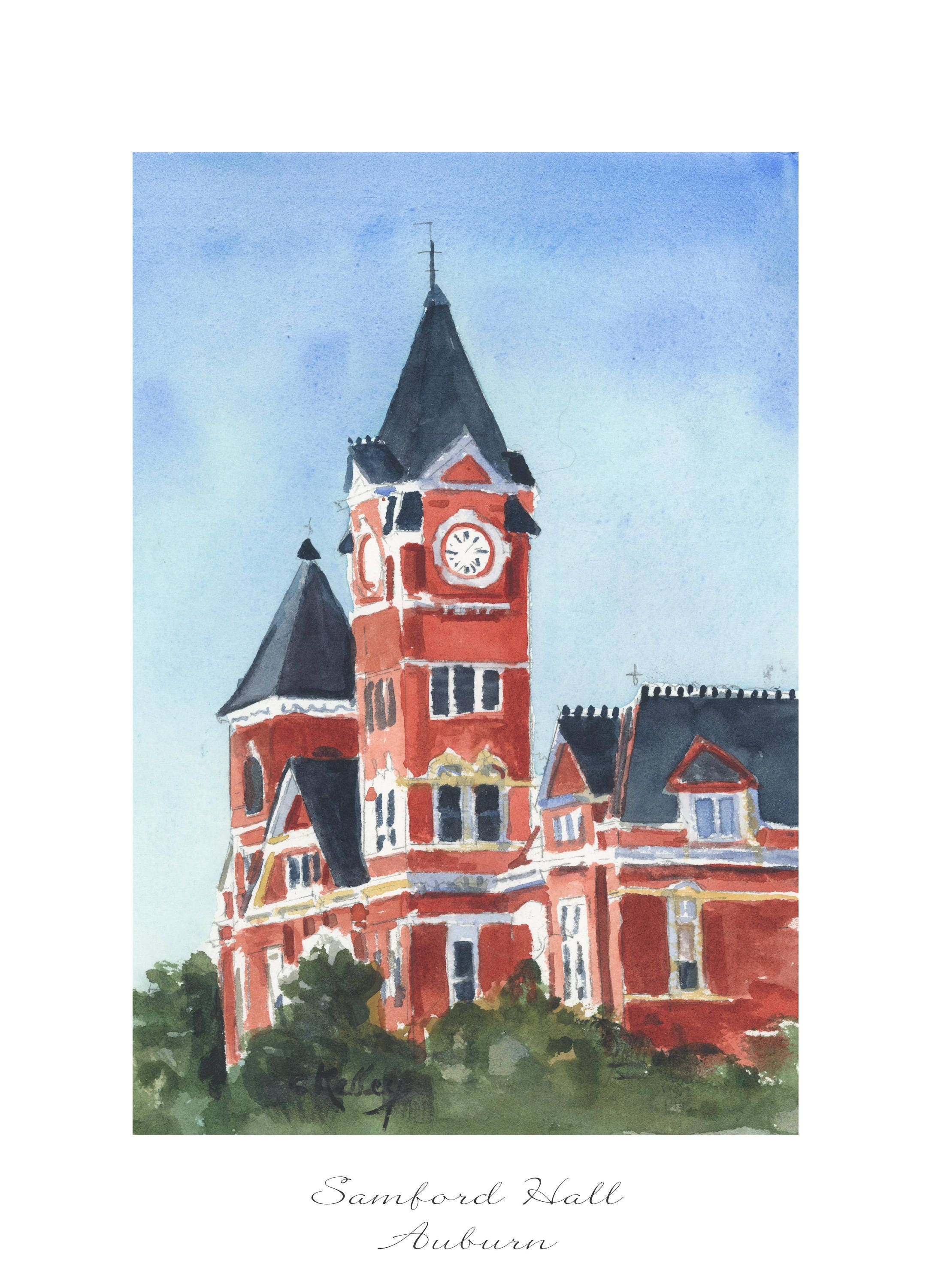 Samford Hall in Auburn sign watercolor art print Digital