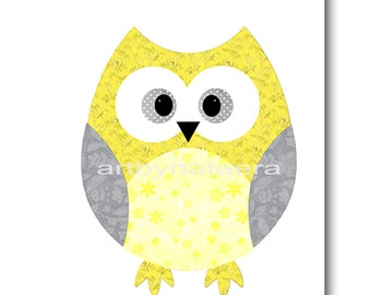 Kids Wall Art Owl Nursery Owl Decor Baby Nursery Decor Baby Girl Nursery Kids Art Yellow Gray Baby Room Decor Nursery Print Girl Print