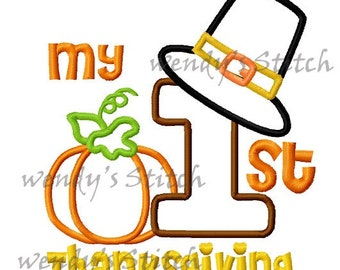 My first Thanksgiving applique machine embroidery design