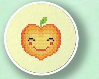 Happy Peach Cross Stitch Pattern, Fruit Modern Simple Cute Counted Cross Stitch Pattern PDF File. Instant Download