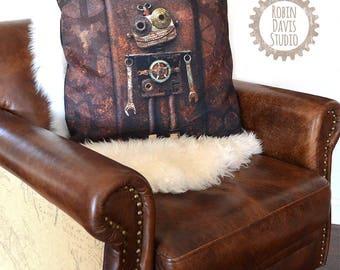 Robot Pillow Case, Steampunk Pillow, Robot Pillow Cover, Industrial Decor Pillow, Robot Canvas, Man Cave Pillow, Robotics gift, Robots, RDS
