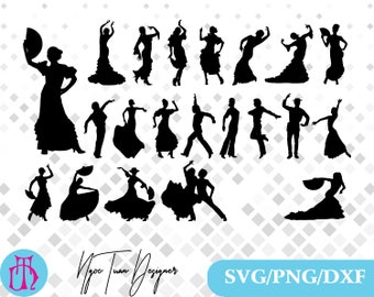 flamenco dancers svg,png,dxf /flamenco dancers clipart for Print,Design,Silhouette,Cricut and any more