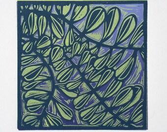 Lino Print Linocut Leaves on Purple Original Handpulled Print
