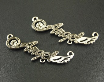 Angel word charms, Angel charms, 10 pcs, Antique silver charms, Alloy charms, Metal charms, Cheap charms, Wholesale, 43 mm x 13 mm, B199