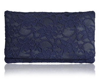 Large navy blue lace Astrid clutch purse, bridesmaids, mother of the bride