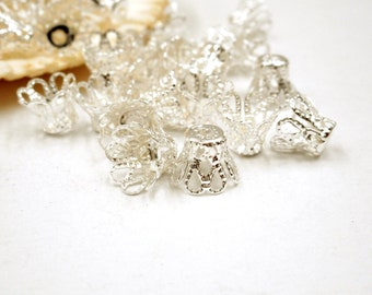 40 Silver Plated Filigree Flower Bead Caps - 6-22