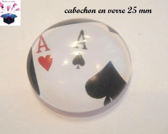 1 cabochon clear 25 mm poker theme