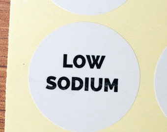 34mm low sodium sticker white paper black ink 90pcs