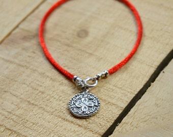 Handmade 925 Sterling Silver Love Amulet on Red Silk String Bracelet - Men & Women