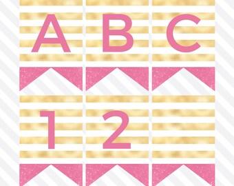 Hot Pink & Gold Banner, Printable Birthday Banner, Birthday Party Decor, Pennant Banner, Printable Garland, Download, Digital Print