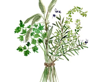 Herbs Bouquet print, Kitchen art, Botanical print, Parsley Sage Rosemary and thyme, mothers day, Valentine, watercolor print, green herbs