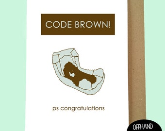 Code Brown! Funny New Baby Card. New Mum Card, New Mom Card, Baby Humour. Diaper Card, Nappy Card. Expecting Card, Funny, Blank Inside.