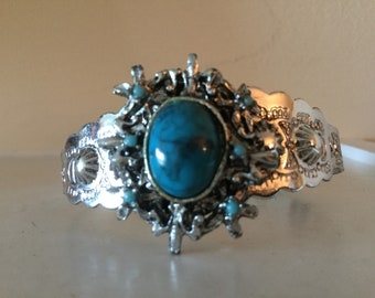 Vintage Native American Style Faux Turquoise Silver Tone Cuff Bracelet