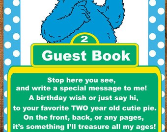 Sesame Street Cookie Monster guest book sign for two year old