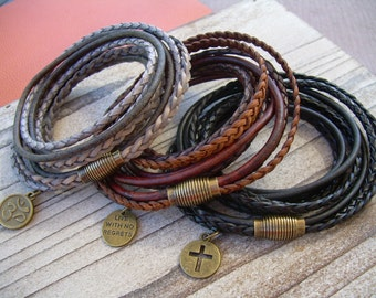 Leather Bracelets, Mens Bracelets Leather, Womens Leather Bracelets  Leather Wrap Bracelet, Charm Bracelet with Magnetic Clasp