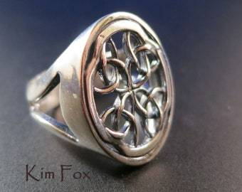 Celtic Window Ring in Sterling Silver designed by Kim Fox
