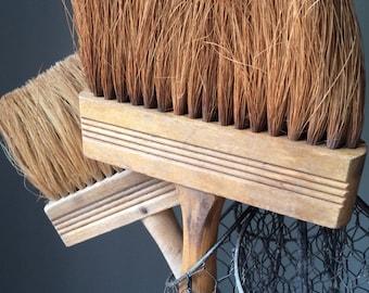 Vintage Brushes Wooden Handles Rustic Industrial Artist's Display