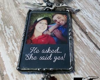 Ornement de Photo personnalisé, faire-part de mariage, soudé en verre, cadeau de fiançailles, tableau Design, fiançailles, mariage Grange