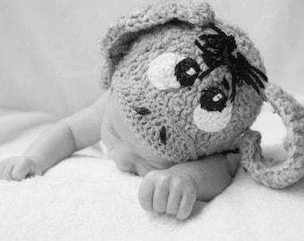 Eeyore Hat, Eeyore Beanie, Animal Hat, Animal beanie, Crochet Hat, Costume Hat, Donkey Hat, Donkey Beanie, Newborn Photo Prop , Preemie Hat