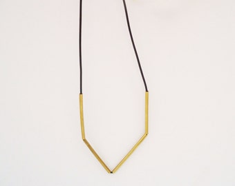 Simple necklace - Rubber - Bronze - Minimalist - modern . Lines Collection