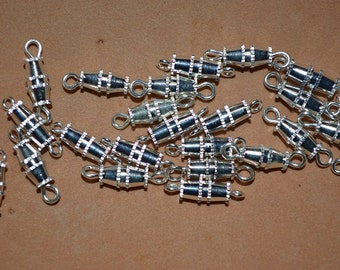 25 - Silver Plated Barrel Clasps - 14mm (3022526)