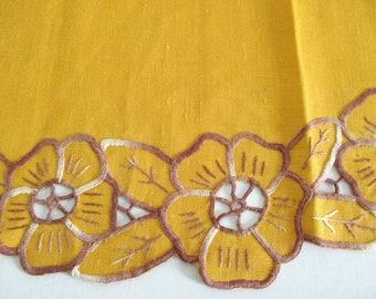 Gold Linen Doily Runner Table Center Hand Embroidery Cutwork