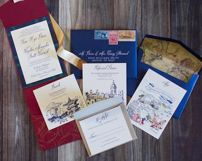 5x7 Elegant Formal Navy Blue, Gold and Red Pocket Wedding Invitation with Vintage Map Envelope Liner & Guest/Return Address Printing