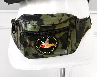 Camouflage fanny pack Camo fanny pack with embroidered yellow/ orange bird appliques Festival fanny pack bum bag patched fanny pack