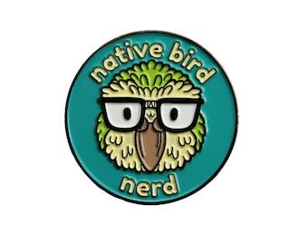 Native Bird Nerd Enamel Pin - New Zealand Kakapo Kea Kiwi Kereru Tui Birdwatching Lapel Pin