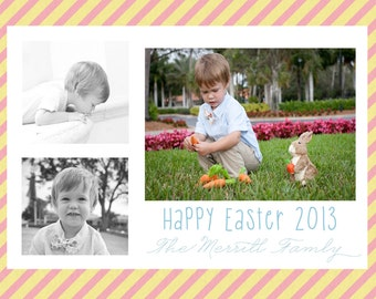 Easter Photo Card- Stripes, personalized and printable, 5x7