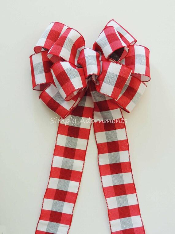 Red Grey Buffalo Plaid Bow Rustic Cabin Christmas Wreath Bow Red Grey Buffalo Tartan Bow Cabin Christmas Topper Bow Country Plaid swag Bow