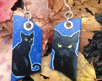 Spooky Halloween Black Cat earrings - dark blue and black starry night kitty