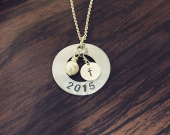 Handstamped graduate necklace