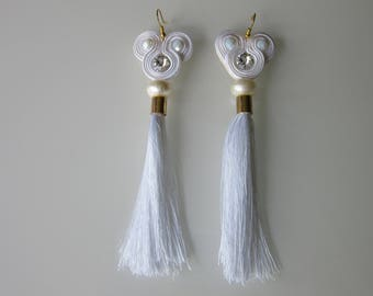"Earrings Earrings Earring ""Oksana"" Soutache Sutasz Swarovski Swarowski mugl Chwost tassel tassel white Biały white"