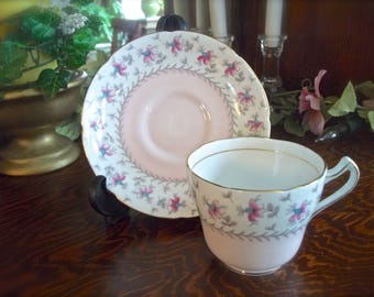 Royal Grafton Teacup And Saucer Set, Royal Grafton Pink Teacup, Pink Floral Teacup, Shabby Pink Teacup, Easter Teacup And Saucer, Bone China
