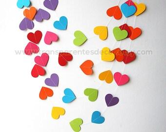 Rainbow baby shower, Rainbow garland, Wedding garland, First birthday, Paper heart garland, Nursery decorations, Bridal shower, KC-9999