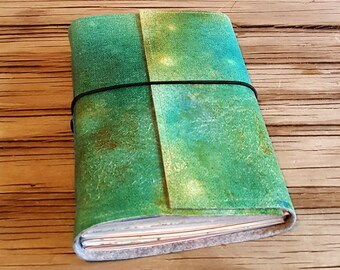 Art Journal creative expression journal - gift for wanderlust artist - hand painted - tremundo