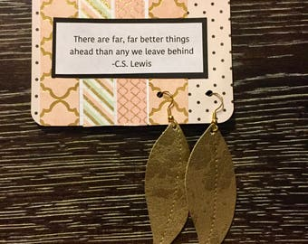 Gold Speckled Leaf Earrings