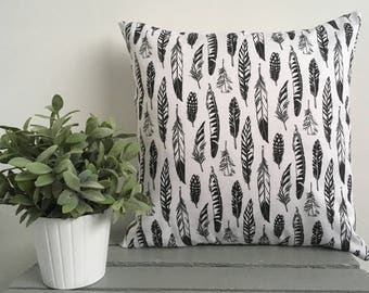 Monochrome Feather Cushion Cover