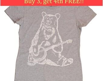 Ladies Shirts - Regular Fit Tee - Ladies Tops - Bear Playing Banjo T Shirts - Banjo Tshirt - Bear Tshirt - Banjo Player Gift Tee