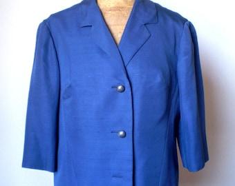 SALE!! Vintage silk shantung jacket; 60s shantung jacket; blue jacket; 3/4 sleeves jacket.