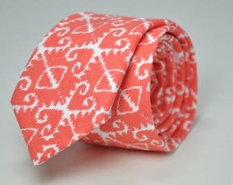 Coral Ikat Men's Skinny Necktie