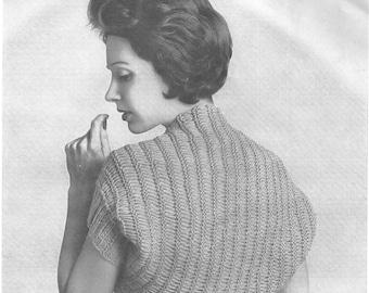 Knitting Pattern, Shrug, vintage 1960s style, pdf pattern