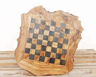 Engraved Chess Set Board Game Large, Rustic Wooden Chess Board Set 17.7-Inch, Dad gift, Boyfriend Gift, Birthday Gift, Groomsmen Gift #06