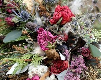 dried flower bouquet, mauve bridal bouquet, rust bridal bouquet, rust wedding, pheasant feather bouquet, dark pink bouquet, woodland bouquet