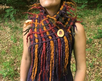The 'Elixr' A Magical Woven Scarf of Twinkling Fibres, Dread Scarf, Fairy Cowl, Festival Wear